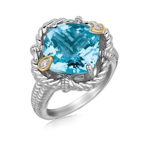 18k Yellow Gold and Sterling Silver Ring with Cushion Blue Topaz and Diamonds, size 6