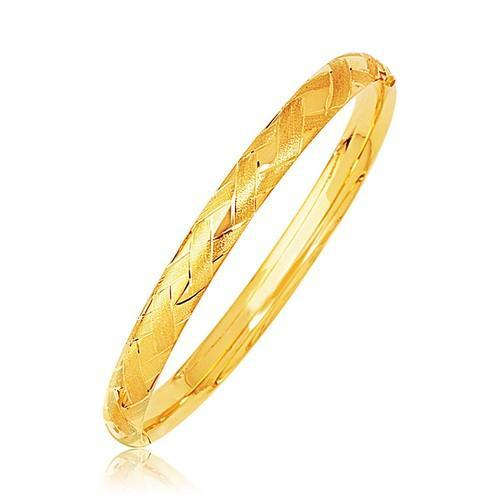 14k Yellow Gold Domed Bangle with a Weave Motif, size 8''