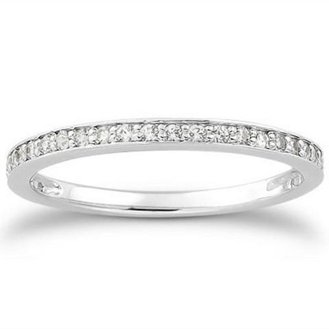 14k White Gold Micro-pave Diamond Wedding Ring Band Set 3/4 Around, size 5.5