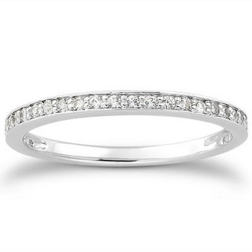 14k White Gold Micro-pave Diamond Wedding Ring Band Set 3/4 Around, size 7