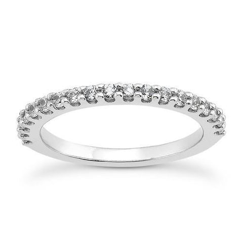 14k White Gold Shared Prong Diamond Wedding Ring Band with U Settings, size 8