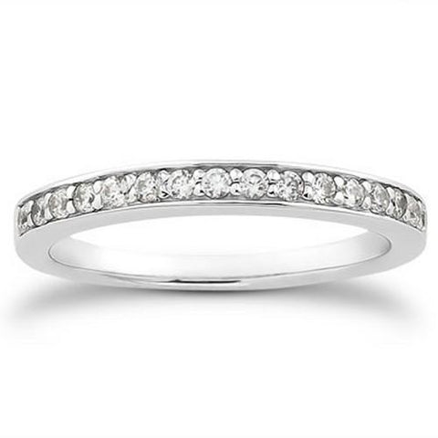 14k White Gold Pave Diamond Wedding Ring Band Set 1/2 Around, size 7