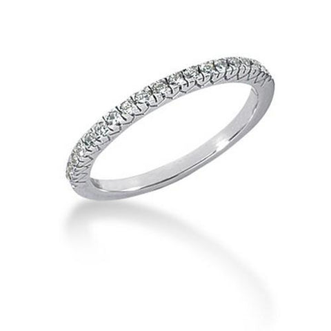 14k White Gold Engraved Fishtail V Pave Diamond Wedding Ring Band, size 8