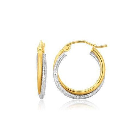14k Two Tone Gold Double Polished and Textured Hoop Earrings