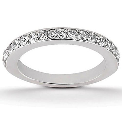 14k White Gold Pave Diamond Wedding Ring Band Set 1/2 Around, size 8