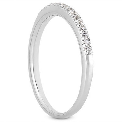 14k White Gold Fancy Engraved Pave Diamond Wedding Ring Band, size 5