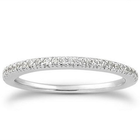14k White Gold Fancy Engraved Pave Diamond Wedding Ring Band, size 7.5