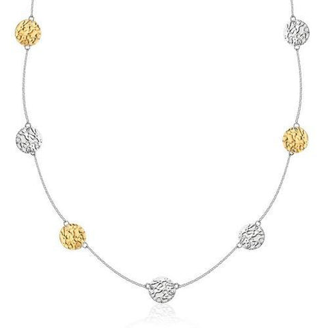 14k Yellow Gold & Sterling Silver Reticulated Disc Station Necklace