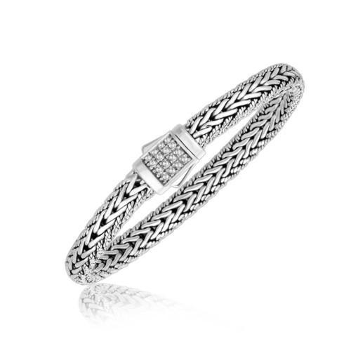 Sterling Silver White Sapphire Accented Braided Men's Bracelet, size 8.25''