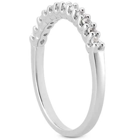 14k White Gold Fancy U Setting Shared Prong Diamond Wedding Ring Band, size 5.5