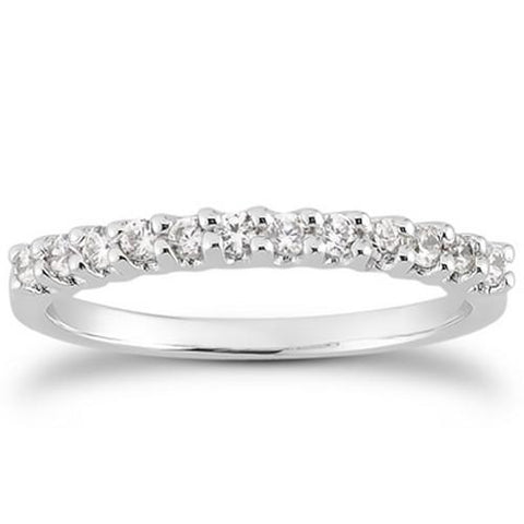 14k White Gold Fancy U Setting Shared Prong Diamond Wedding Ring Band, size 6.5