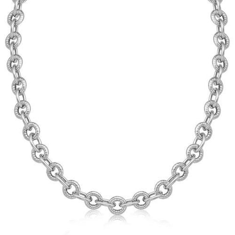 Sterling Silver Round Cable Inspired Chain Link Necklace, size 18''