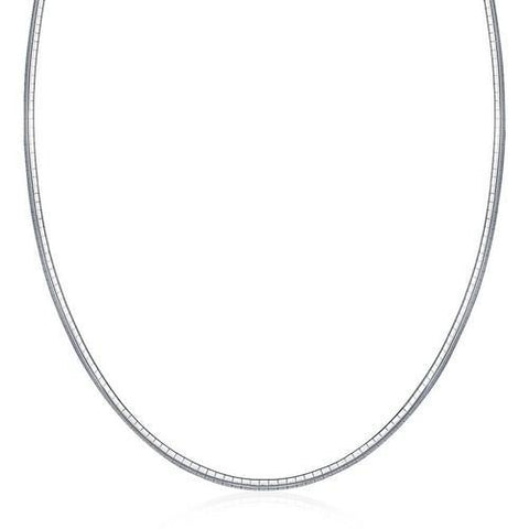 Sterling Silver Classic Omega Chain Necklace (3.0mm), size 18''