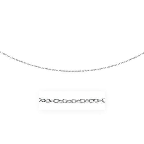 2.5mm 14k White Gold Pendant Chain with Textured Links, size 24''