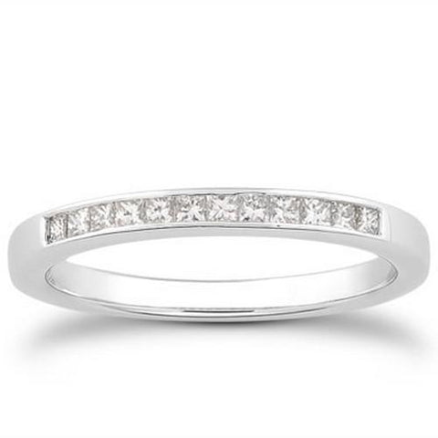 14k White Gold Channel Set Princess Diamond Wedding Ring Band, size 8.5