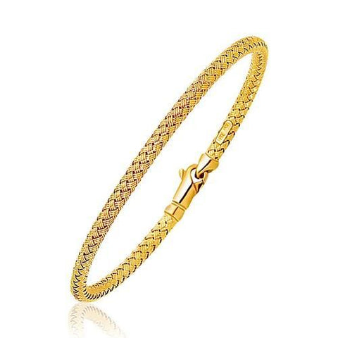 Fancy Weave Bangle in 14k Yellow Gold (3.0mm), size 7.25''