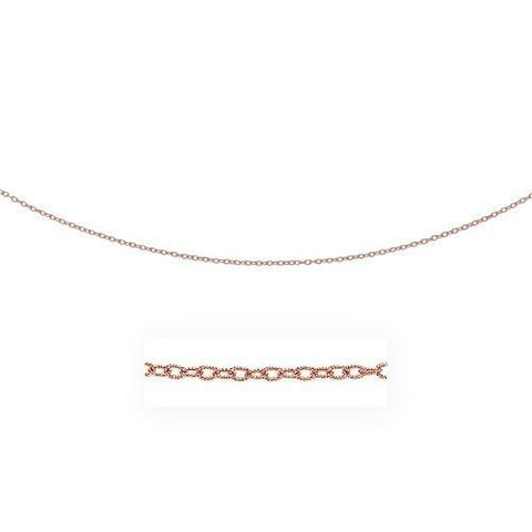 2.5mm 14k Rose Gold Pendant Chain with Textured Links, size 18''