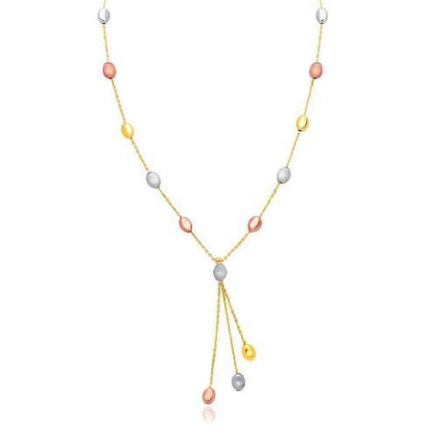 14k Tri-Color Gold Pebble Station Necklace with Triple Drop, size 17''
