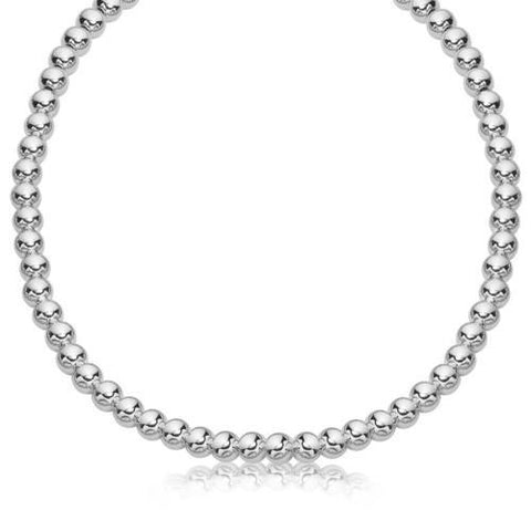 Sterling Silver Rhodium Plated Necklace with a Polished Bead Style (8mm), size 18''