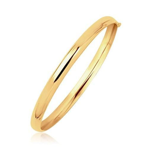 14k Yellow Gold Dome Design Polished Children's Bangle, size 5.5''