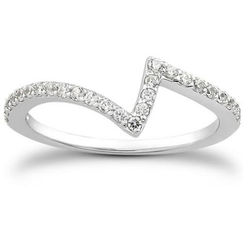14k White Gold Fancy Zig Zag Pave Diamond Wedding Ring Band, size 7