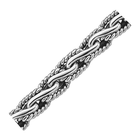 Oxidized Sterling Silver Men's Chain Bracelet in a Cable Motif, size 7.5''