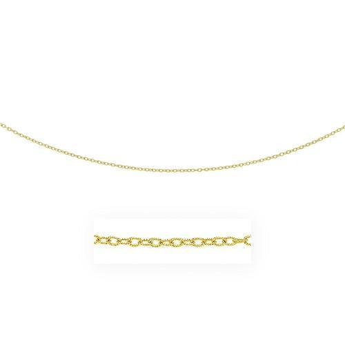 2.5mm 14k Yellow Gold Pendant Chain with Textured Links, size 24''