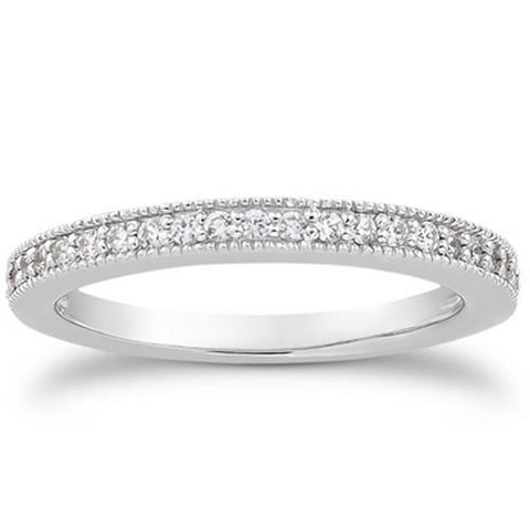 14k White Gold Pave Diamond Milgrain Wedding Ring Band Set 1/2 Around, size 7.5