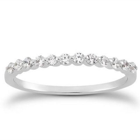 14k White Gold Floating Diamond Single Shared Prong Wedding Ring Band, size 8