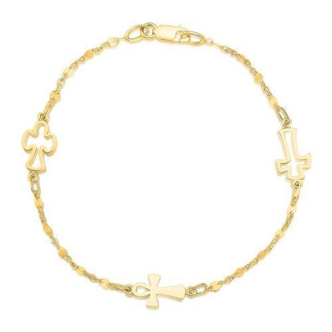 14k Yellow Gold Symbolic Cross Bracelet, size 7''