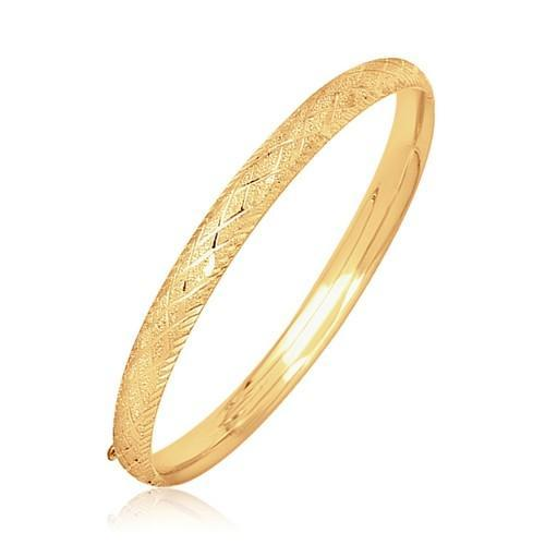 14k Yellow Gold Diamond Carved Bangle (6.0 mm), size 7''
