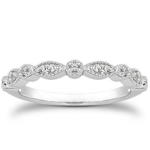 14k White Gold Vintage Look Fancy Pave Diamond Milgrain Wedding Ring Band, size 8