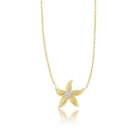 14k Two-Tone Gold Sea Life Starfish Necklace, size 18''