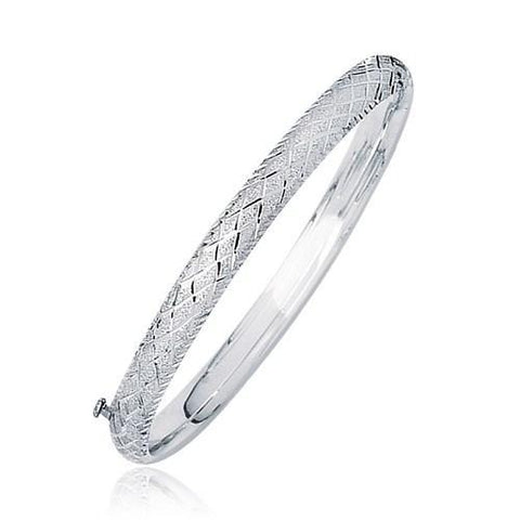 14k White Gold Weave Diamond Cut Dome Children's Bangle, size 5.5''