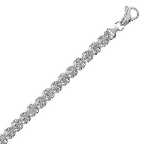 Sterling Silver Classic Byzantine Link Bracelet with Rhodium Plating, size 7.25''