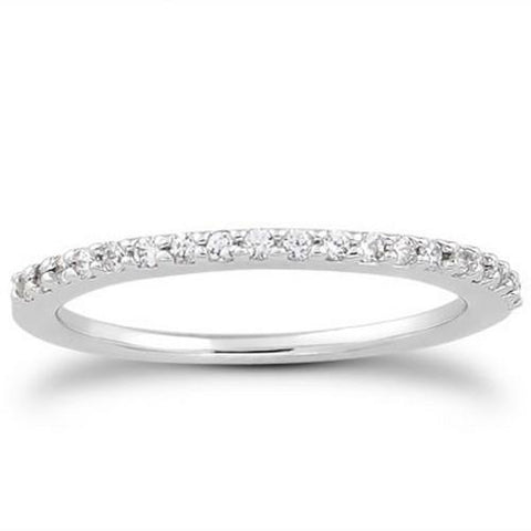 14k White Gold Slim Profile Diamond Micro Prong Diamond Wedding Ring Band, size 8.5