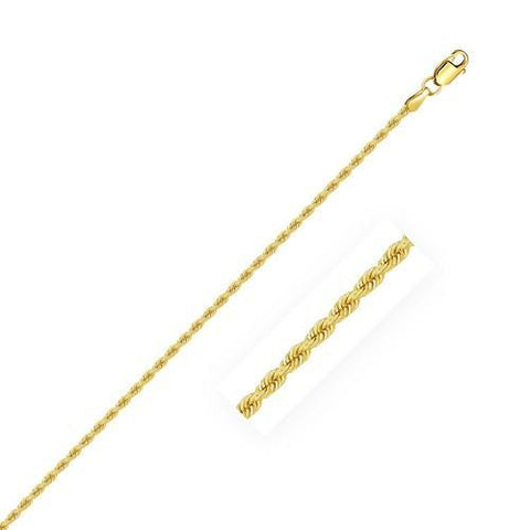 2.0mm 14k Yellow Gold Solid Rope Chain, size 16''