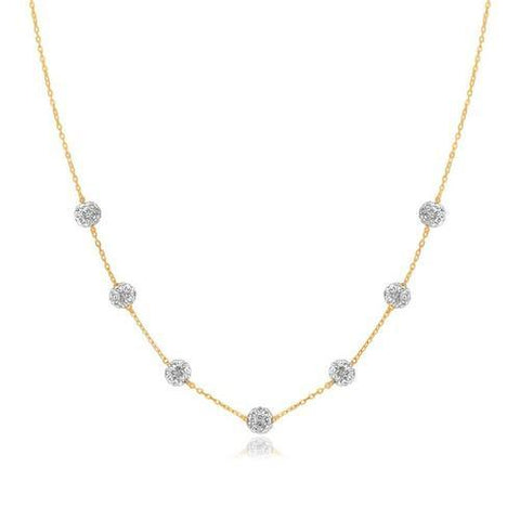 14k Yellow Gold Necklace with Crystal Embellished Sphere Stations, size 18''