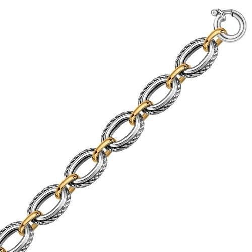 18k Yellow Gold and Sterling Silver Chain Necklace in a Cable Motif, size 8''