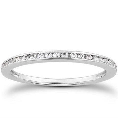 14k White Gold Slim Profile Diamond Channel Set Wedding Ring Band, size 8
