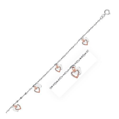 14k White and Rose Gold Anklet with Dual Heart Charms, size 10''