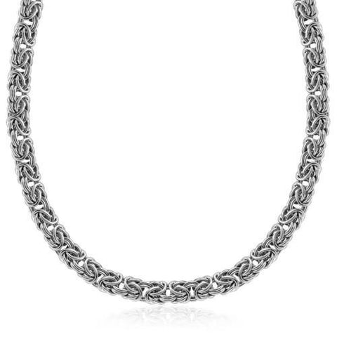 Sterling Silver Byzantine Chain Necklace with Rhodium Plating