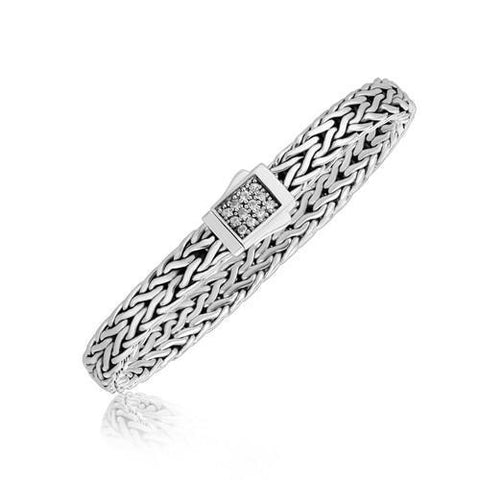 Sterling Silver Braided Men's Bracelet with a White Sapphire Accented Clasp, size 8.25''