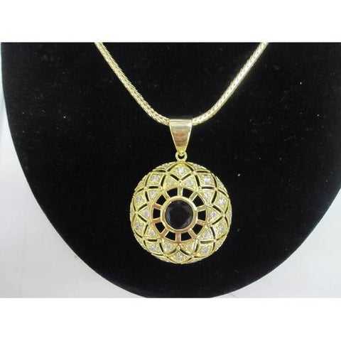 "Micropave Pendant, Black CZ with Necklace Gold Electroplated 16"" + 2"" Extension"