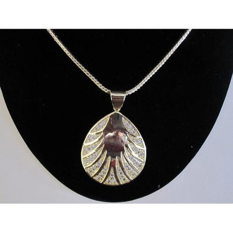 "Micropave Pendant Shell Shaped with Necklace Gold Electroplated 16"" + 2"" Extension"