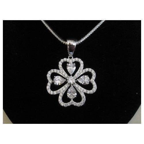 "Micropave Pendant Pears and Hearts with Necklace Rhodium Plated 16"" + 2"" Extension"