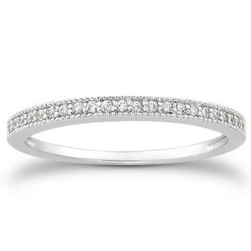 14k White Gold Diamond Micro Pave Diamond Milgrain Wedding Ring Band, size 4