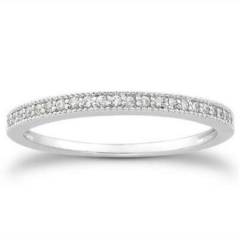 14k White Gold Diamond Micro Pave Diamond Milgrain Wedding Ring Band, size 6.5