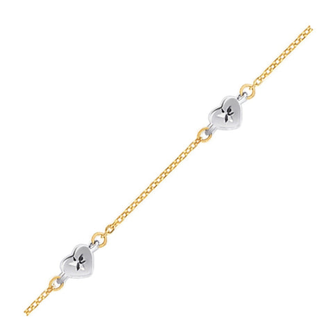 14k Two Tone Gold Anklet with Diamond Cut Heart Style Stations, size 10''