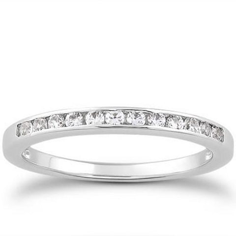 14k White Gold Channel Set Diamond Wedding Ring Band Set 1/3 Around, size 7.5